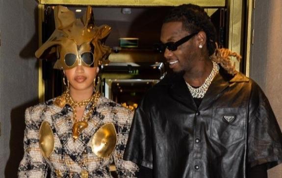 Cardi B Rocks Bizarre 'Golden Nipple' Outfit At Paris Fashion Week With Offset