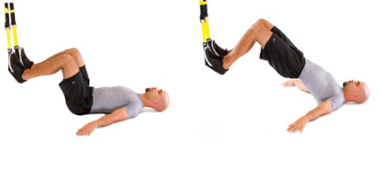 TRX hip raise  w/ squeeze at top