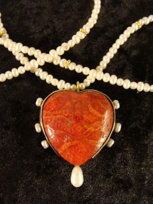 foam coral, pearls, sterling silver