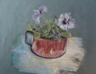 pansy in an old jar