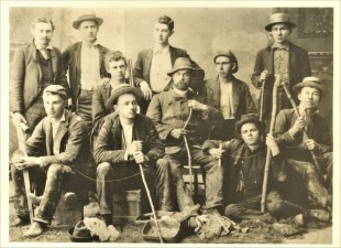 Dreiser (in rear, second from right) with spelunking group during his college days; courtesy Vigo County Historical Society