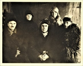 Dreiser with companions in Donetz Basin, USSR 12-19-1927; from left to right, l'Etienne (Latvian agronomist); Dr. Sophia Davidovskaya; Dreiser; Dreiser's secretary Ruth Kennell; a local guide; courtesy, Vigo County Historical Society