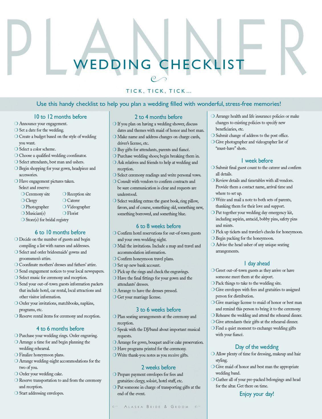 Wedding Timeline Checklist Template