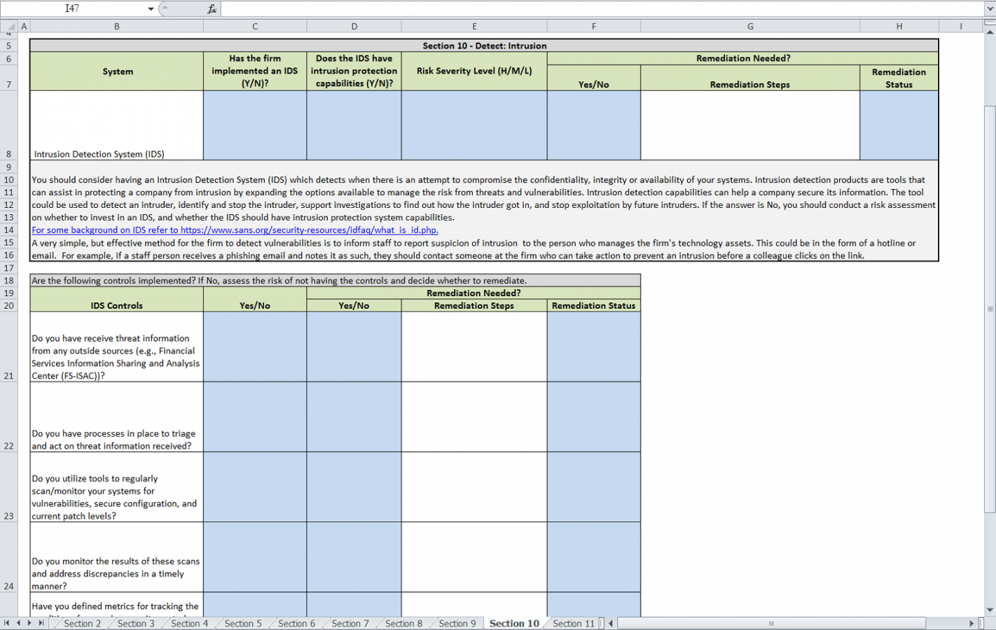 Sample Excel Templates It Security Risk Assessment