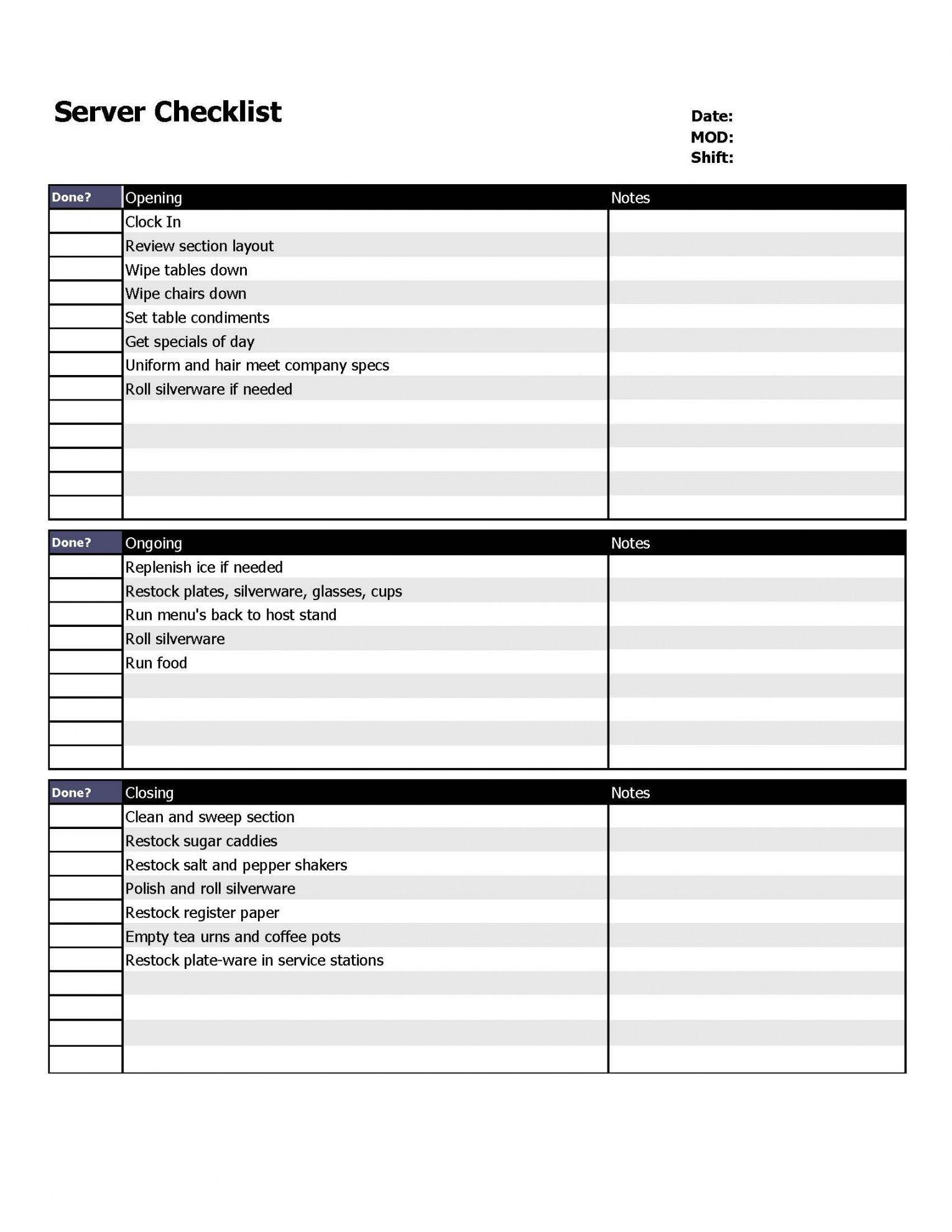 Server Monitoring Checklist Template