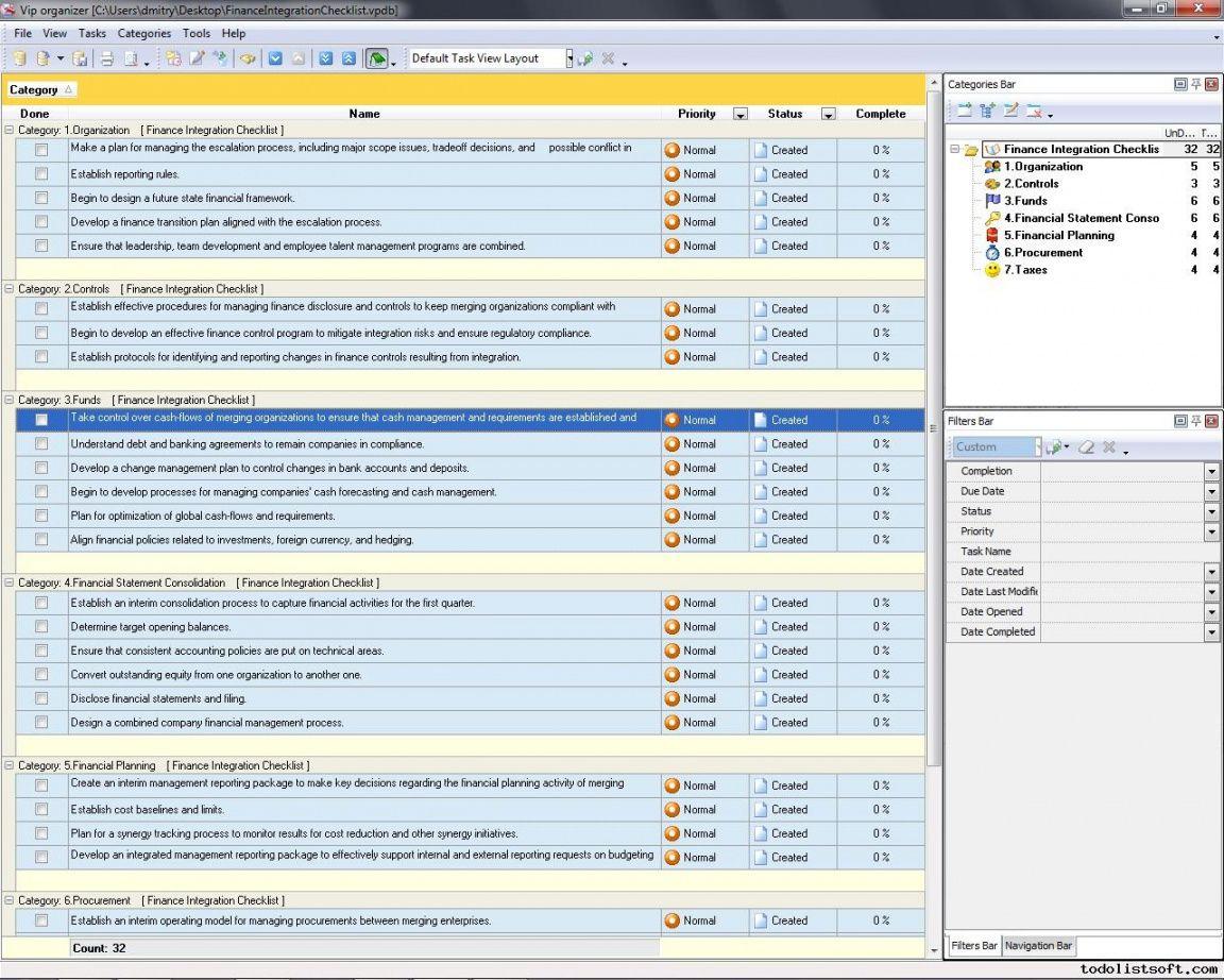 Personal Finance Checklist Template
