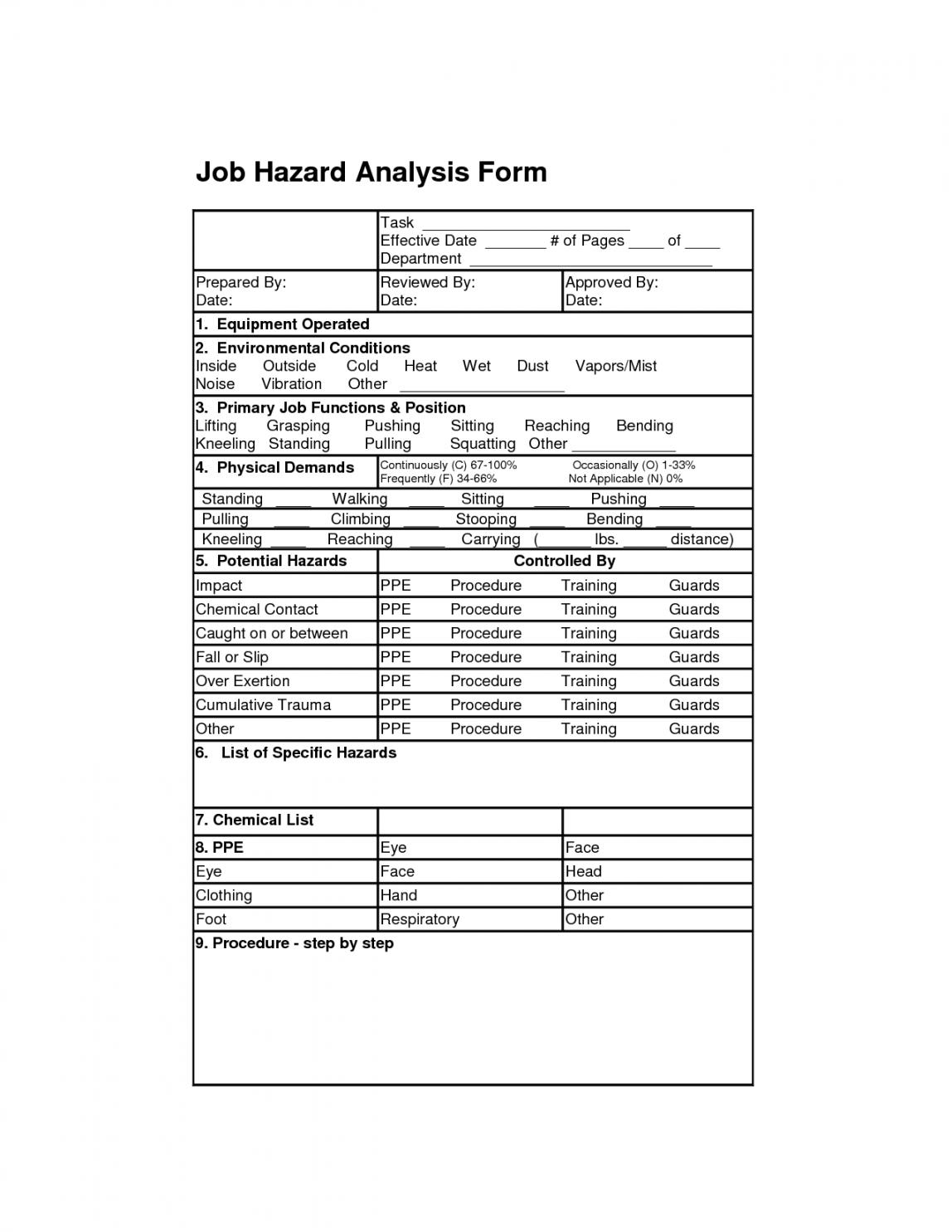 Printable Job Hazardysis Form Safety Engineering Job