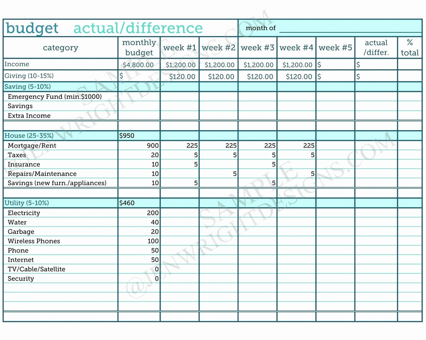 Zero Ased Udget Xls Monthly Worksheet Spreadsheet Template