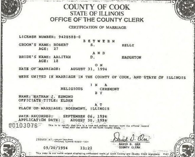 R. Kelly and Aaliyah marriage certificate