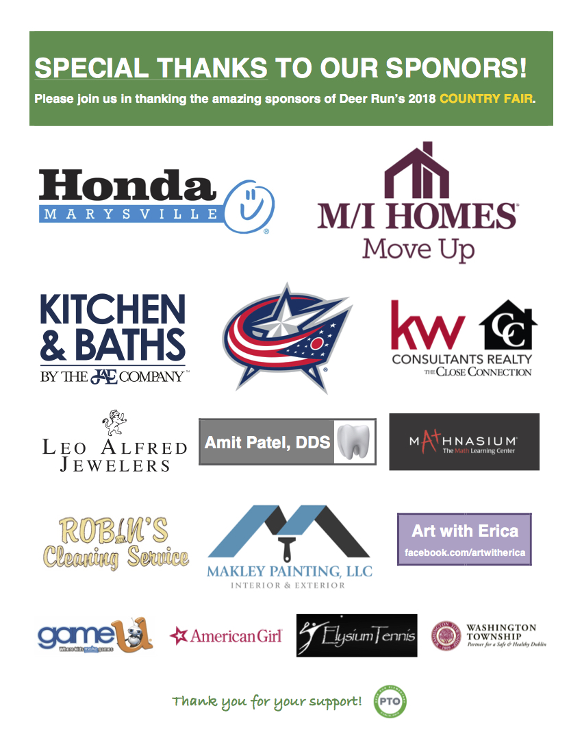 Special Thanks to our Deer Run Country Fair Sponsors!