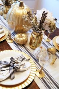 all set: black and gold thanksgiving table. - dress cori lynn