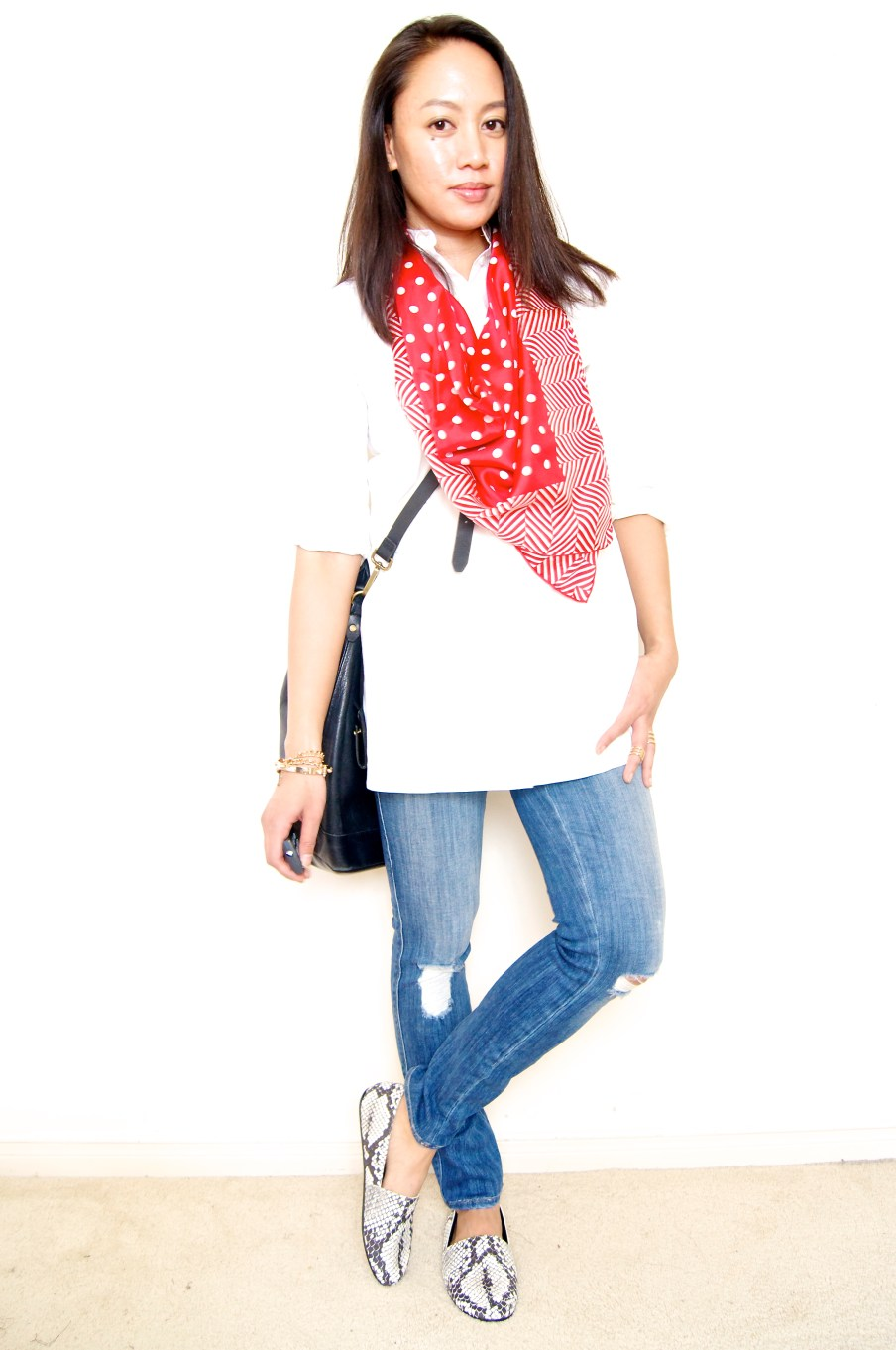 Boyfriend Tunic Shirt + Red Scarf + Distressed Denim + Bucket Bag