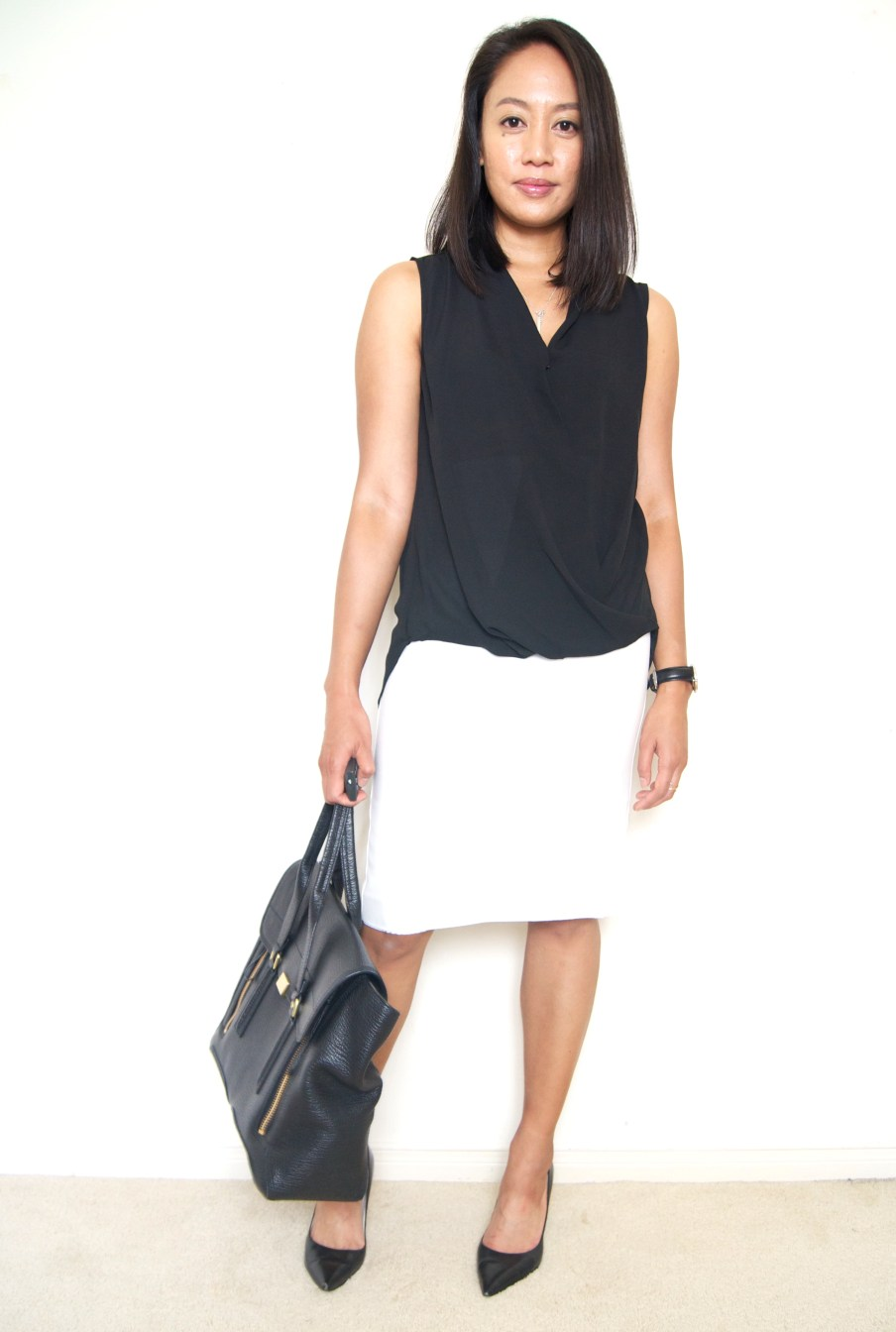 DRESSED ACCORDINGLY BLOG // White Pencil Skirt + Pleione Faux Wrap Blouse