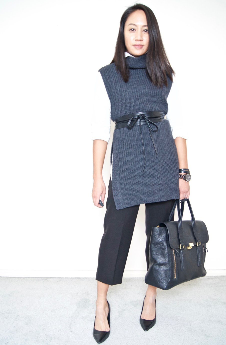 DRESSED ACCORDINGLY BLOG / Belted Tunic Sweater + Cropped Wide Leg Pants