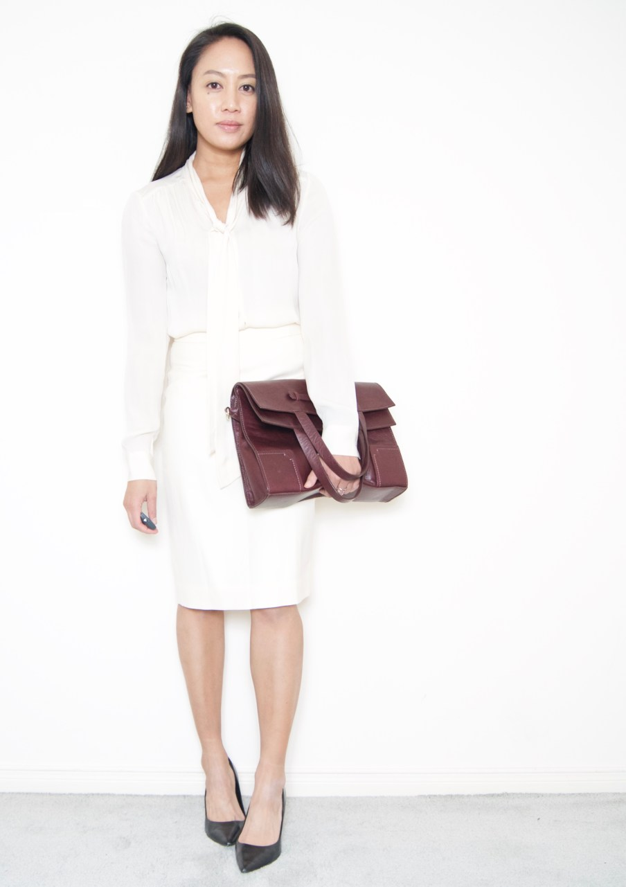 DRESSED ACCORDINGLY BLOG // Winter white Pencil skirt + bow blouse
