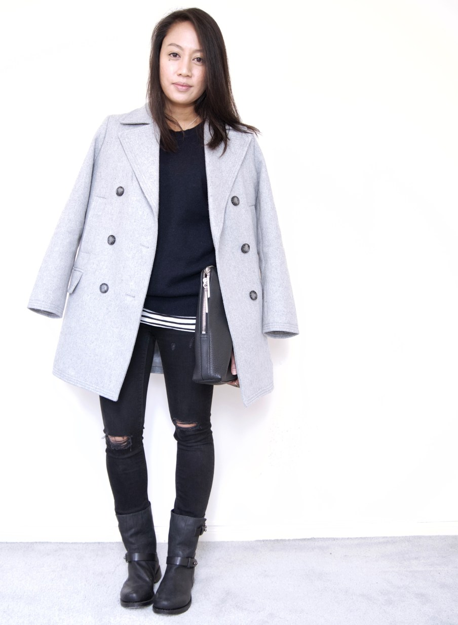 Boyfriend Coat + Navy Blue Sweater + Destructed Denim + Moto Boots
