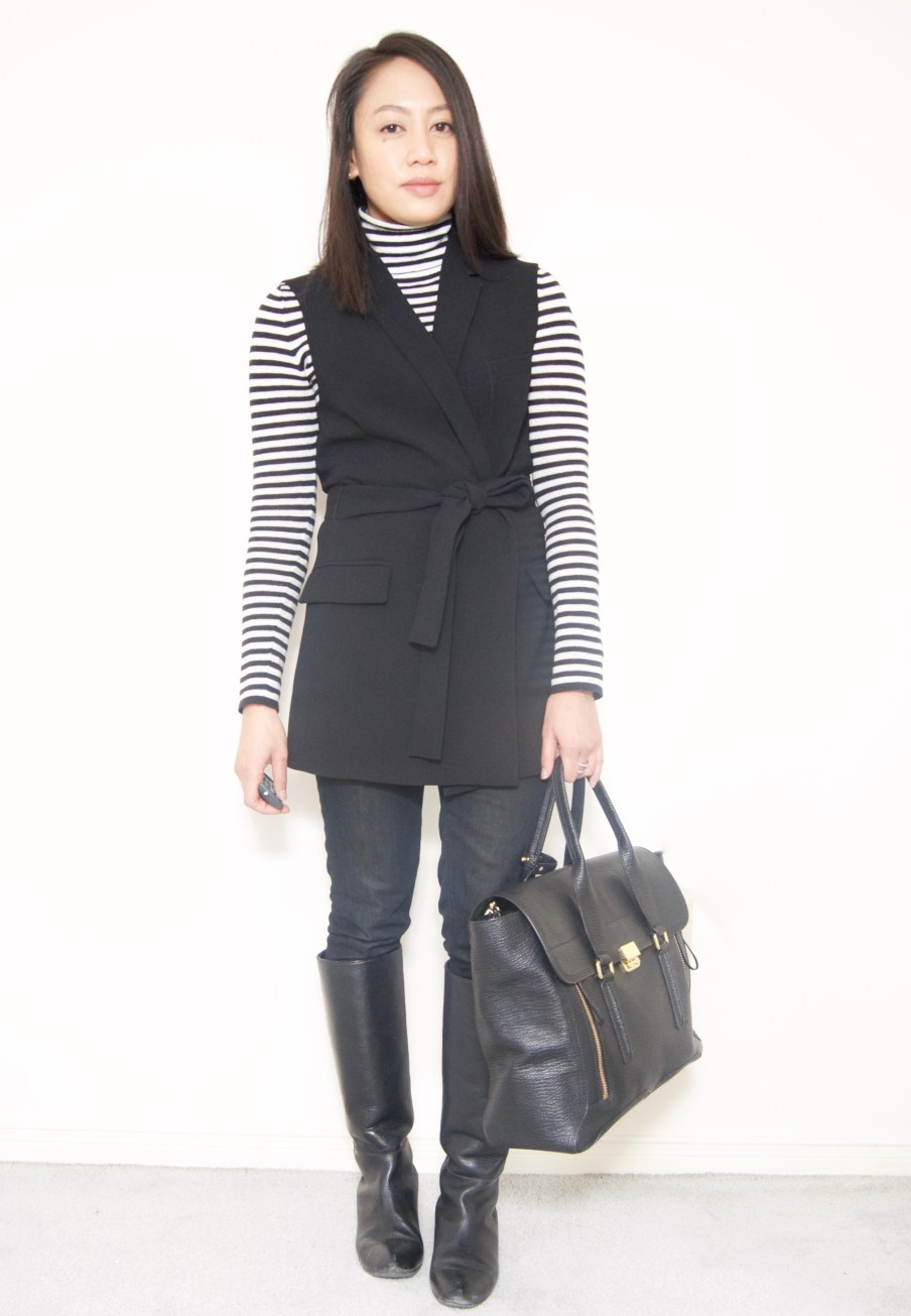 Striped sweater + Vest + Boots