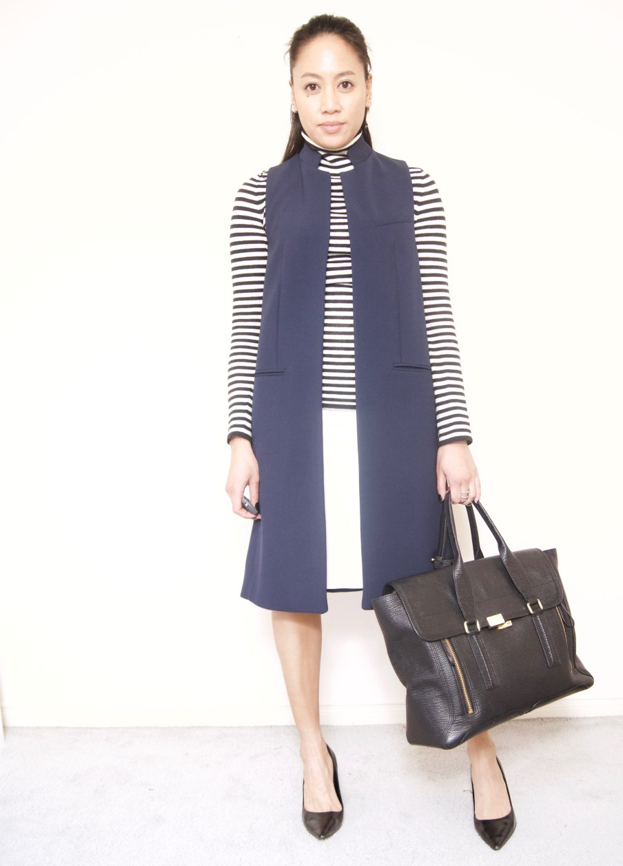 Stripe turtleneck + White skirt + Vest
