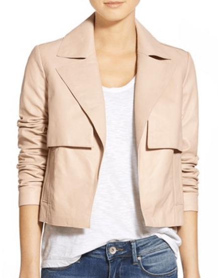 Halogen Cropped Leather Trench Jacket
