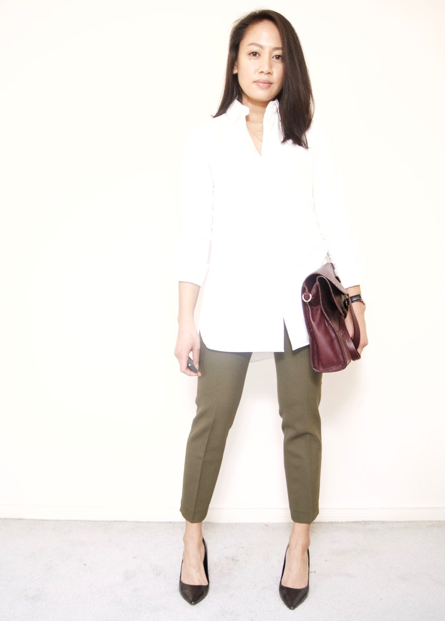 Olive trousers + White tunic shirt