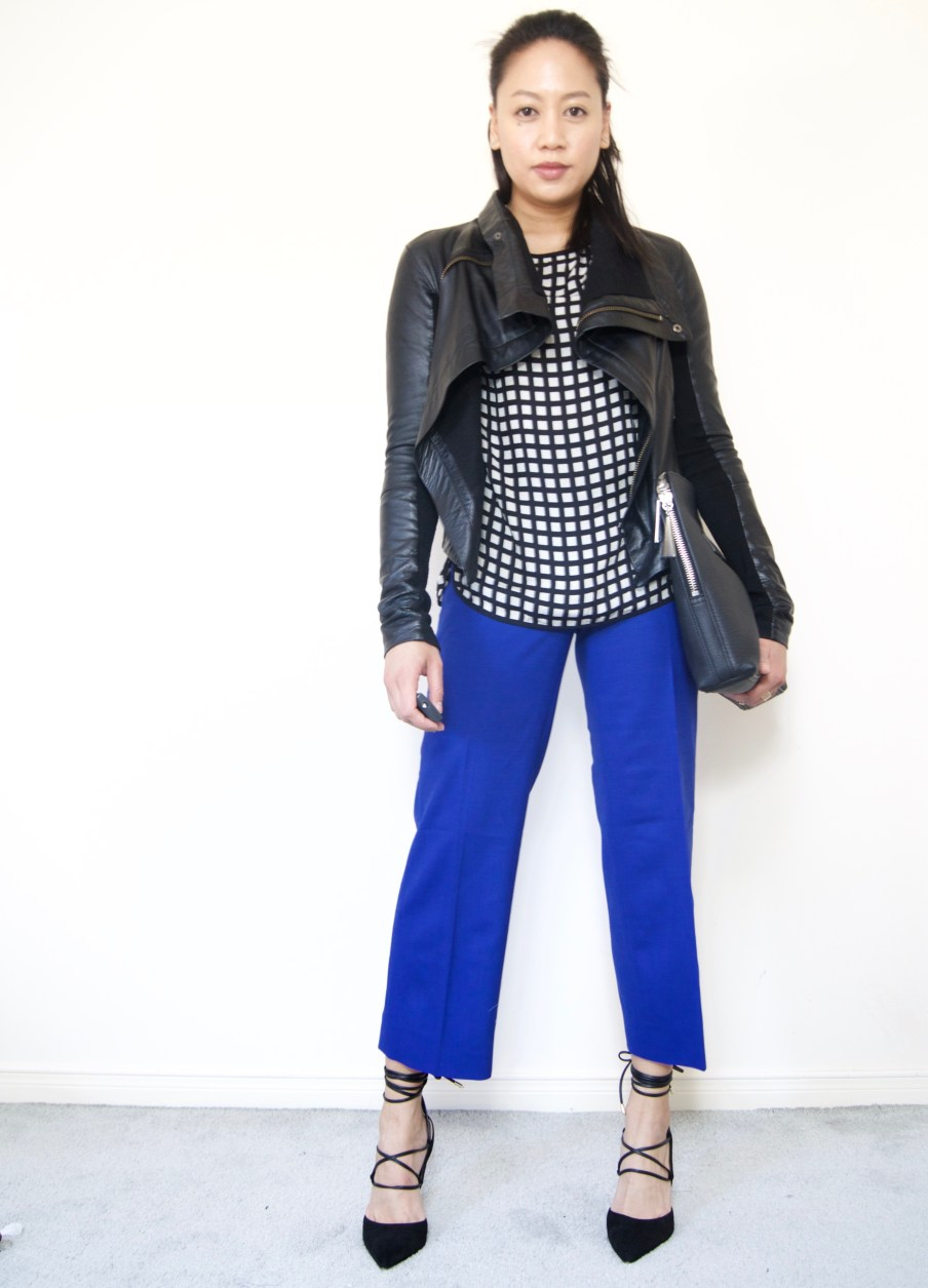 J.Crew Patio Pant + Leather Jacket + Lace-up Pumps
