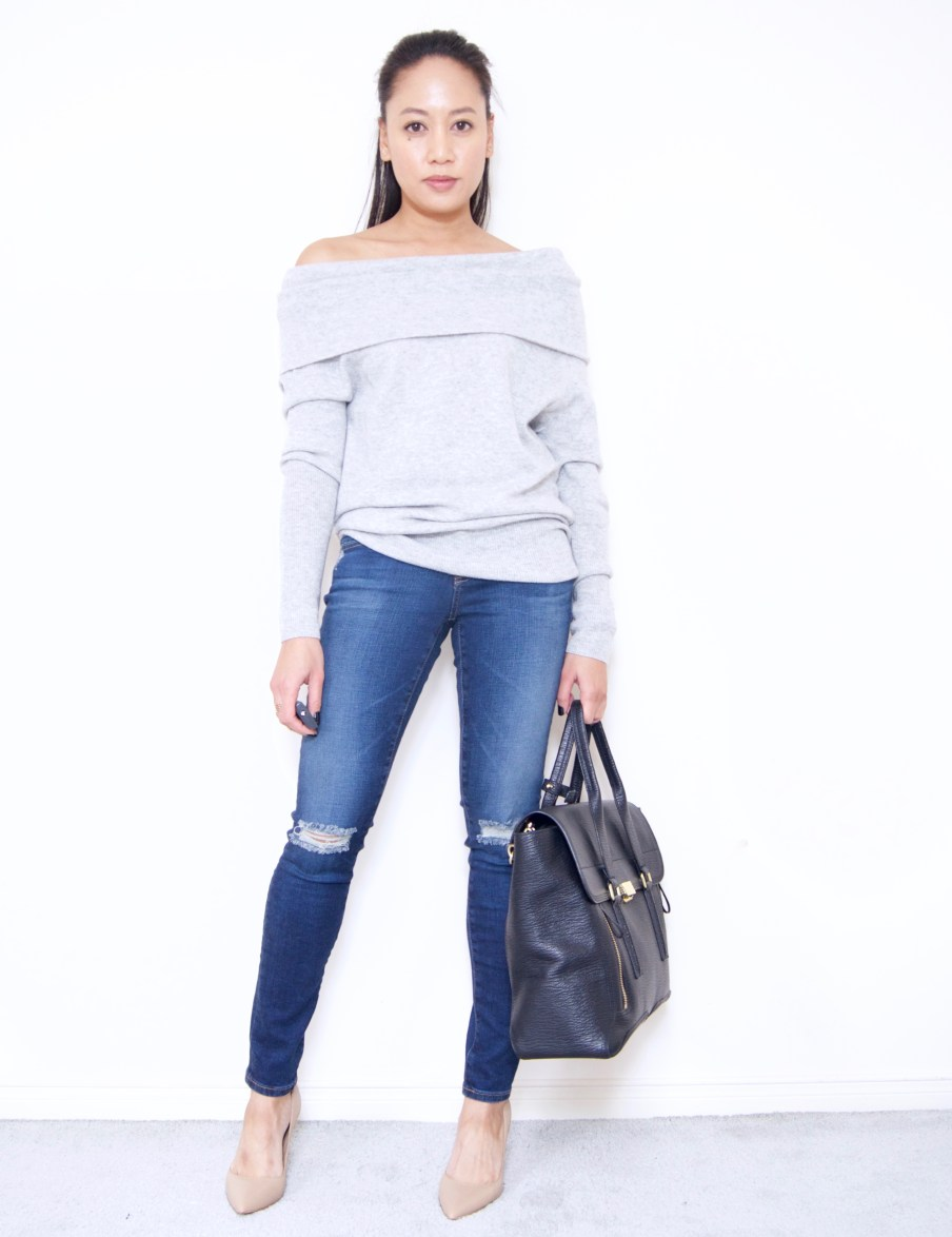 Off the shoulder sweater + AG Destroyed Denim in 4 year fog