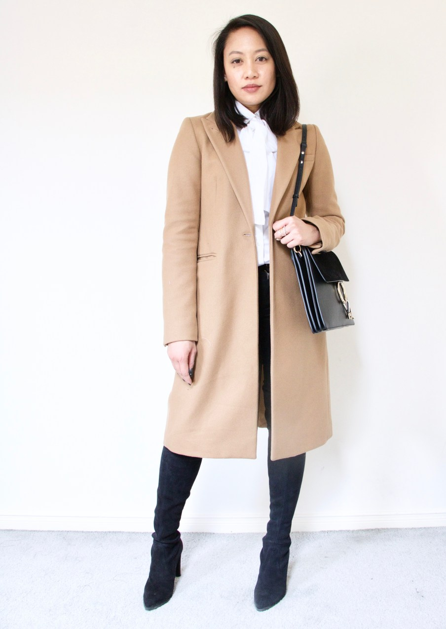 Bow Blouse + Camel Coat + Over the knee suede boots