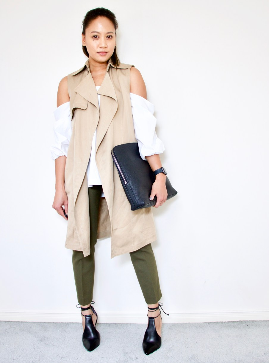 Off the shoulder top + olive green pants + trench vest