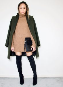 Turtleneck Sweater Dress + Stuart Weitzman Over the Kneee Boots