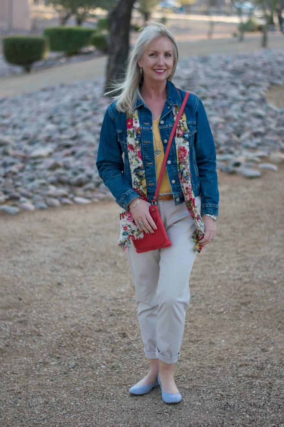 Weekend Chinos from Talbots with Denim Jacket and Colorful Scarf