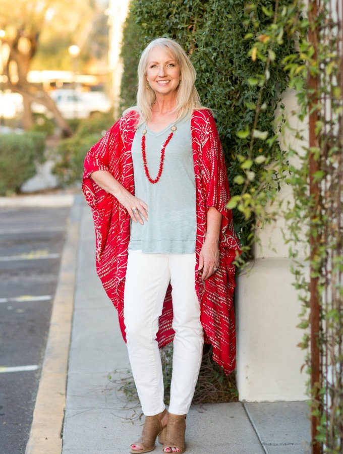 Kimono Red Aqua Top White Jeans 5