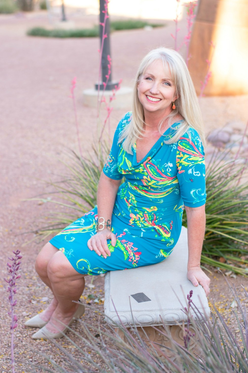 A colorful Lauren by Ralph Lauren Sheath Dress with Ruching