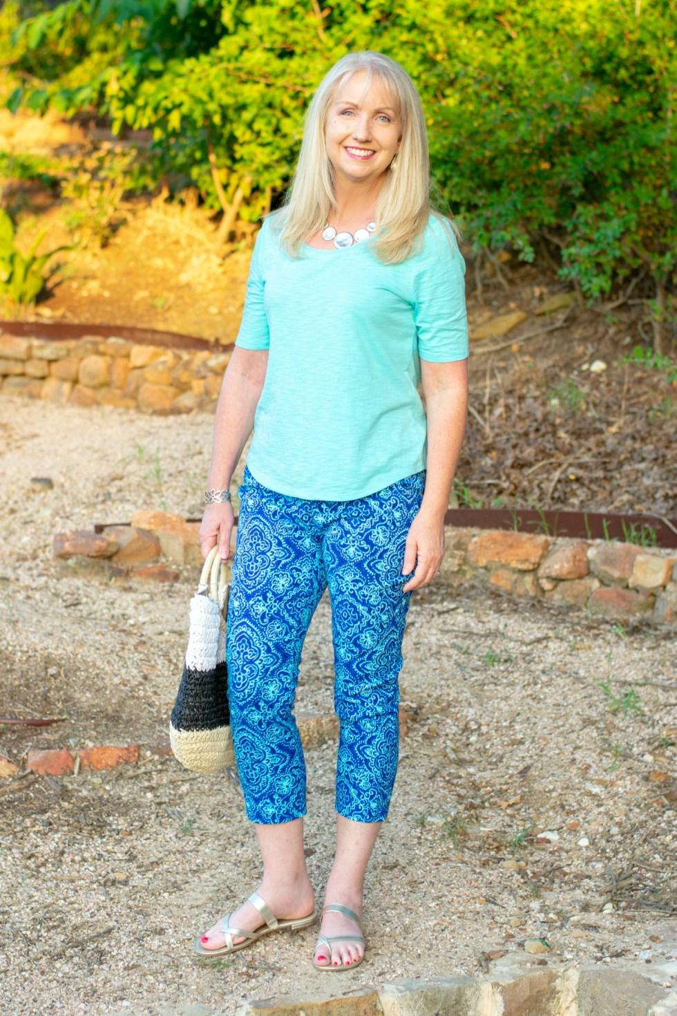 Mixed Blues Crop Pants and Tee 6