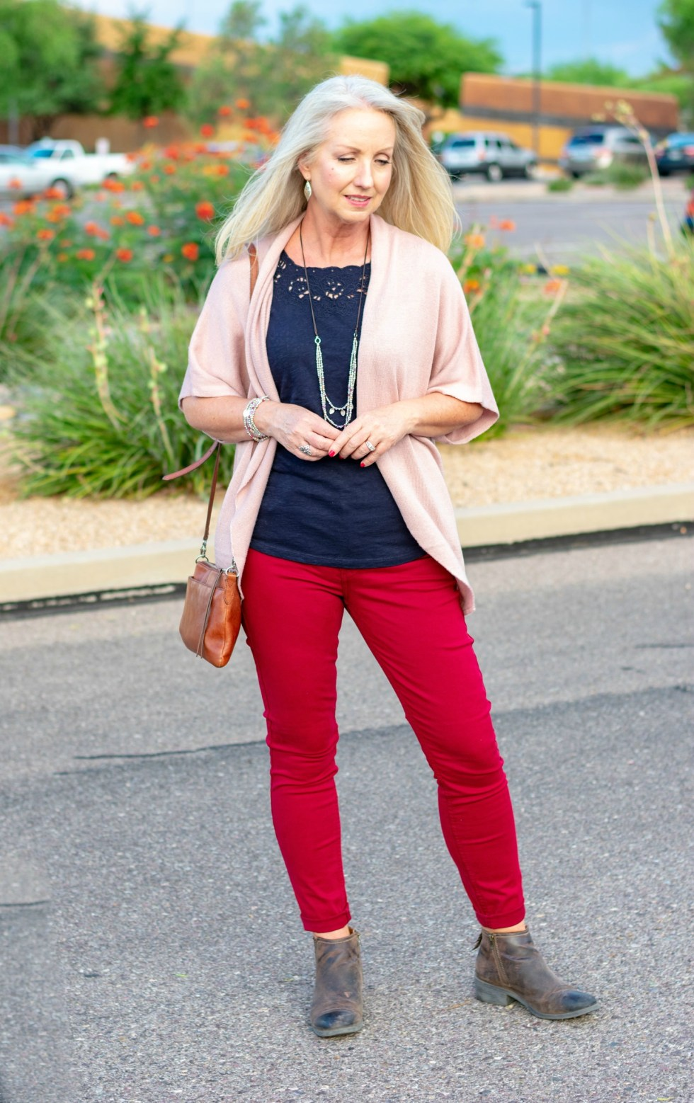 Dolman Sleeve Cardigan with Colored Jeans