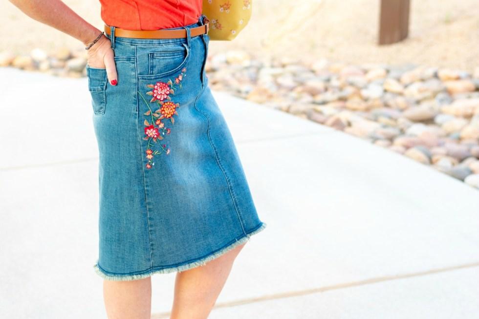 Embroidered Denim Skirt - Styling Reba