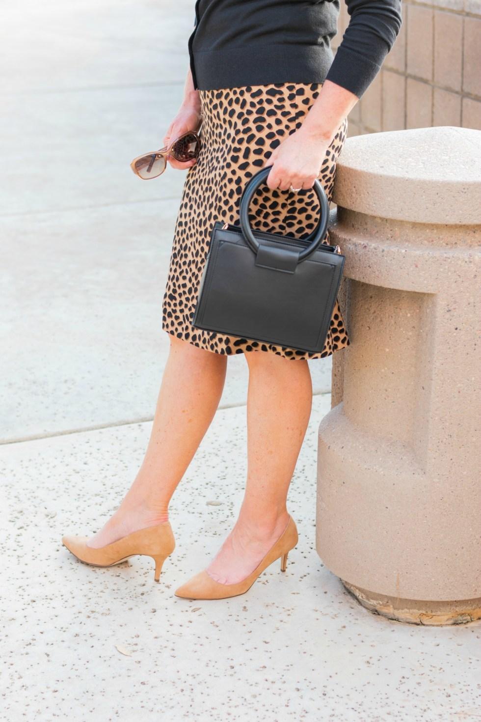 Cheetah Print Skirt and Cardigan
