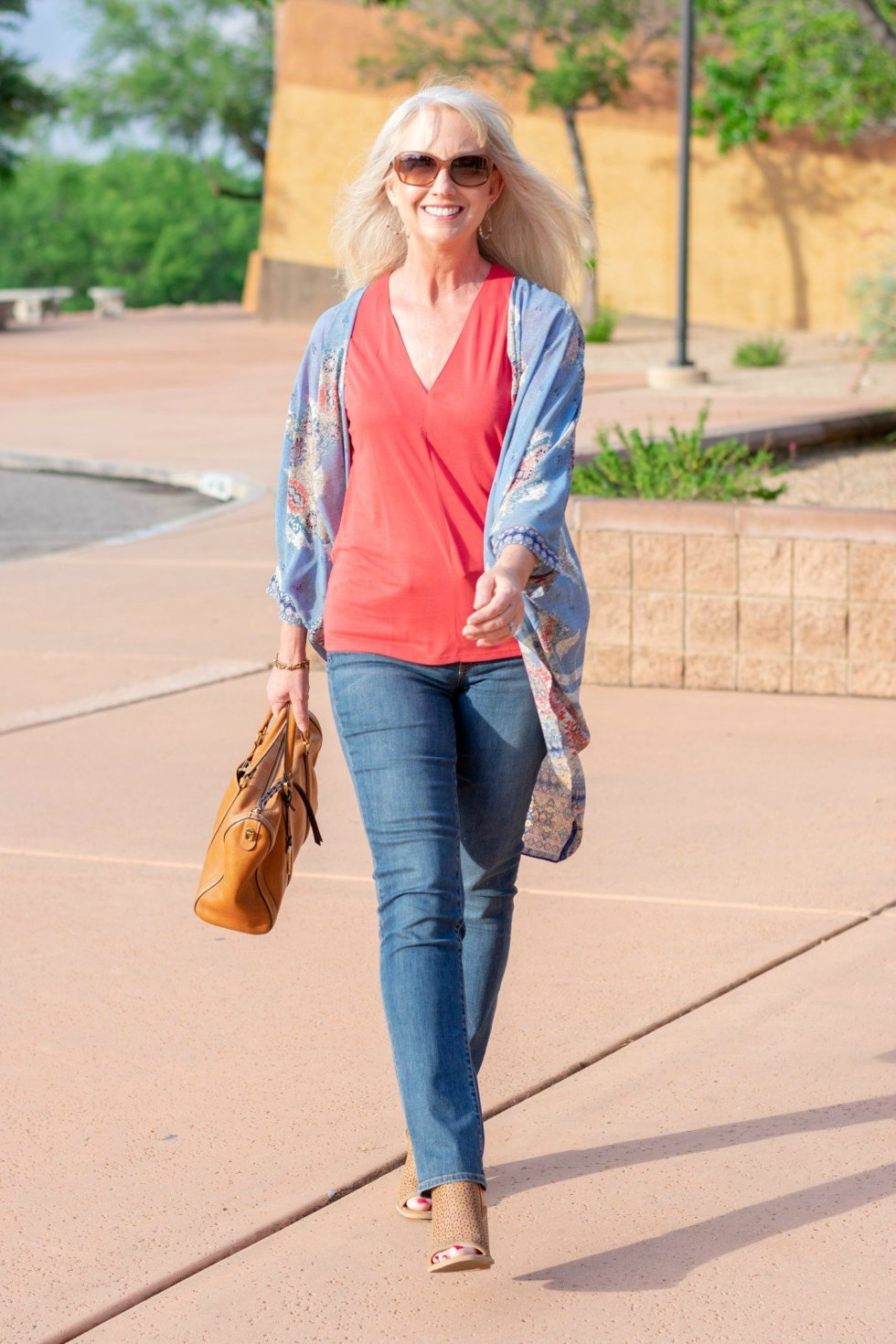 kimono and jeans to transition into fall