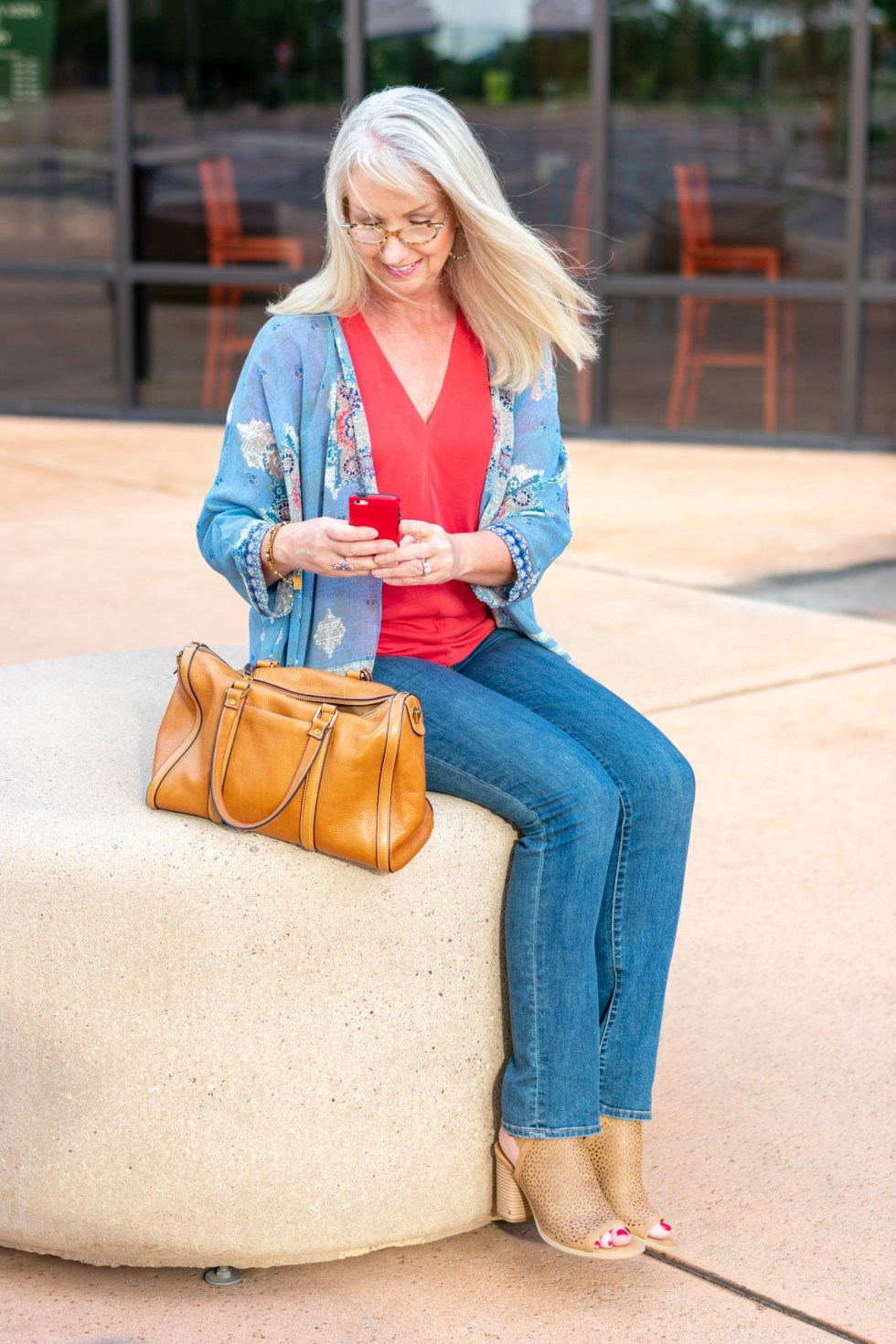 kimono and jeans to transition into fall 6