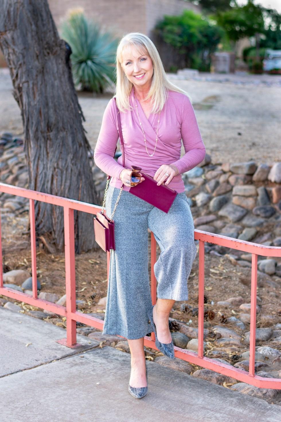 Marled Knit Wide Leg Crop Pants