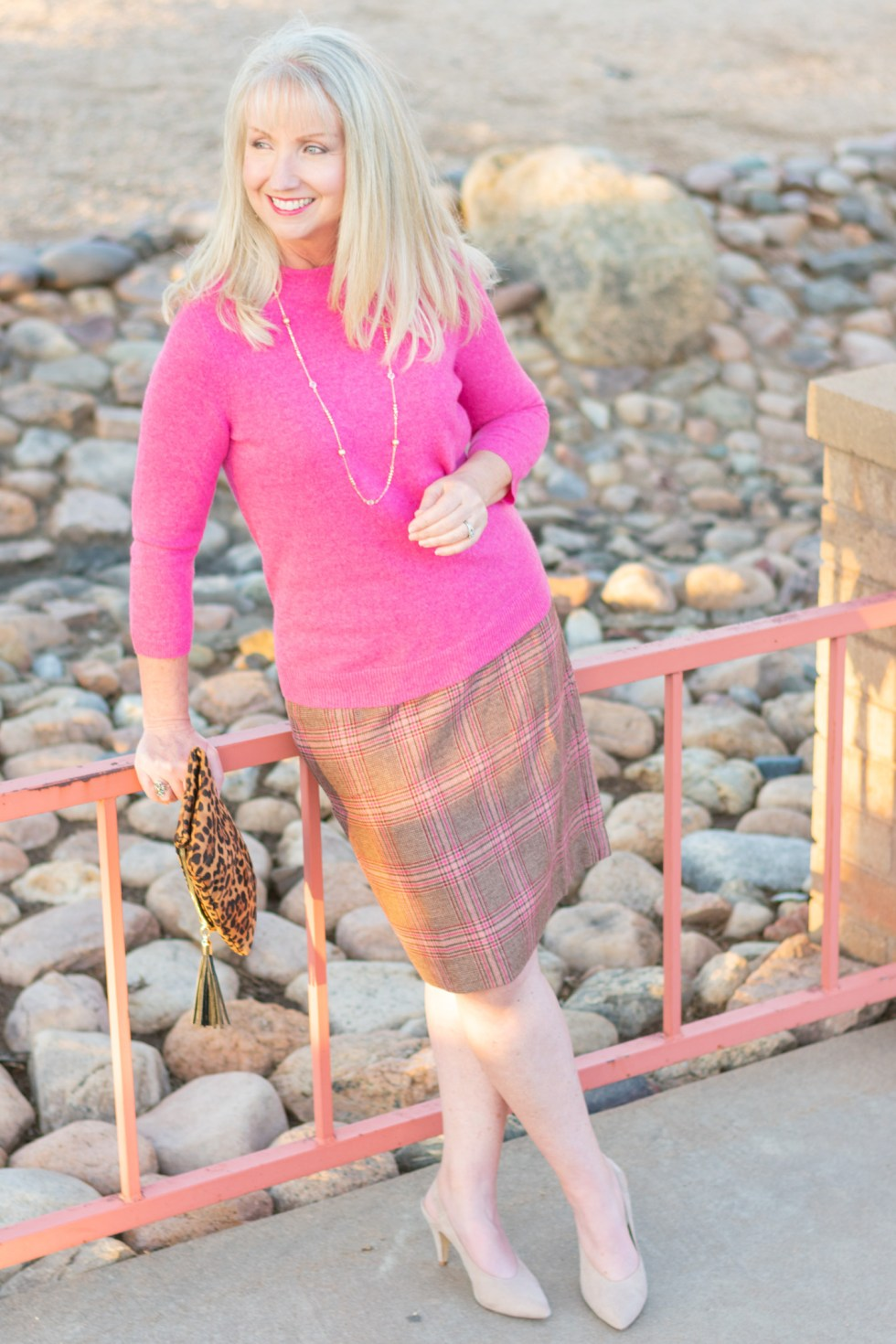 Skirt and Cashmere Sweater in Soft Shades of Fall