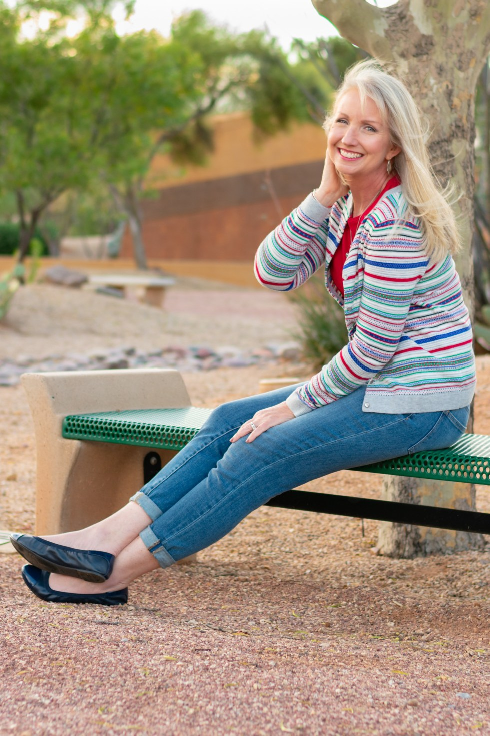 Colorful Striped Cardigan and Girlfriend Jeans