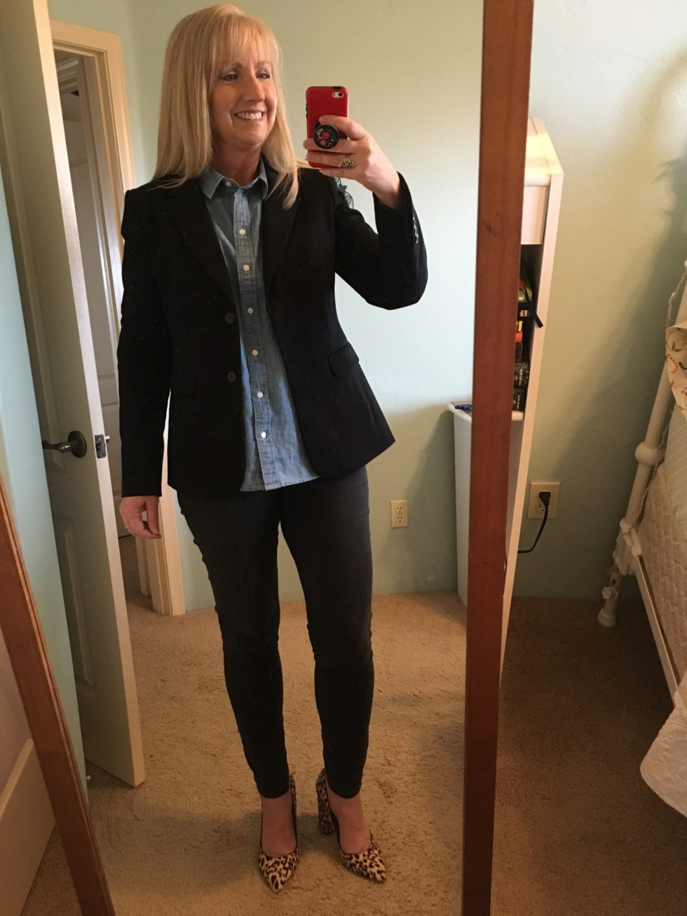 Black Blazer with Chambray shirtBlack Blazer with Chambray shirt