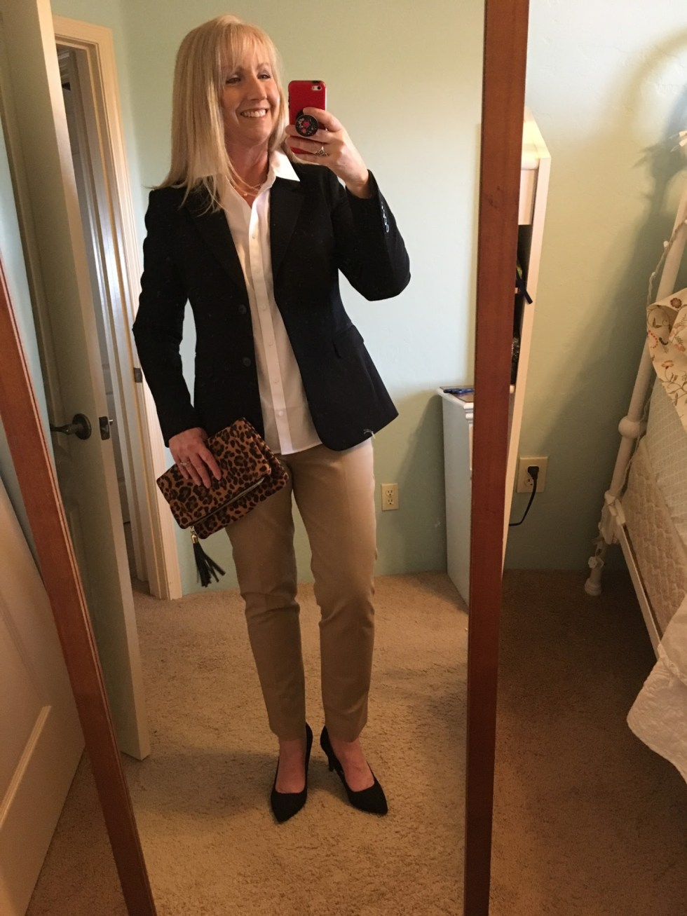 Black Blazer with white shirt and khaki slacks