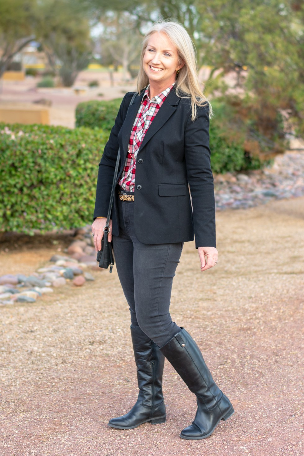 black riding boots with black jeans