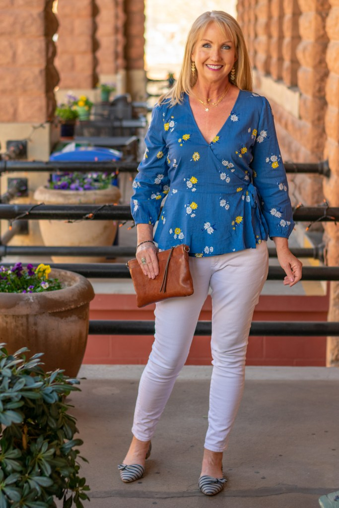 Blue Floral Wrap Top + Layered Necklaces