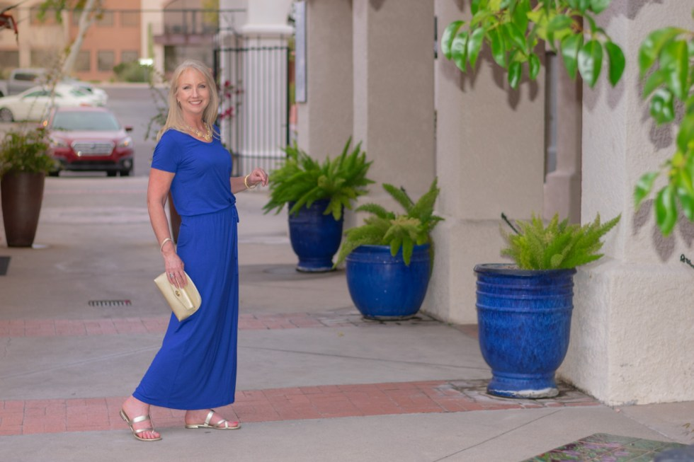 Princess blue maxi dress for date night
