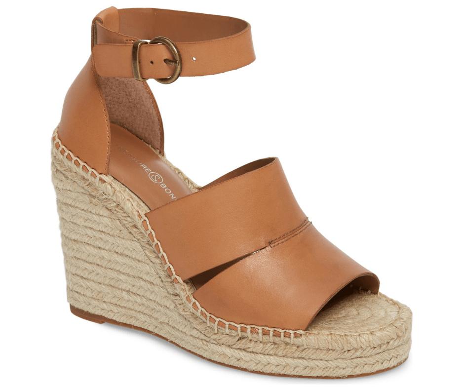 April Favorites - Treasure and Bond Sannibel wedge sandal in tan leather