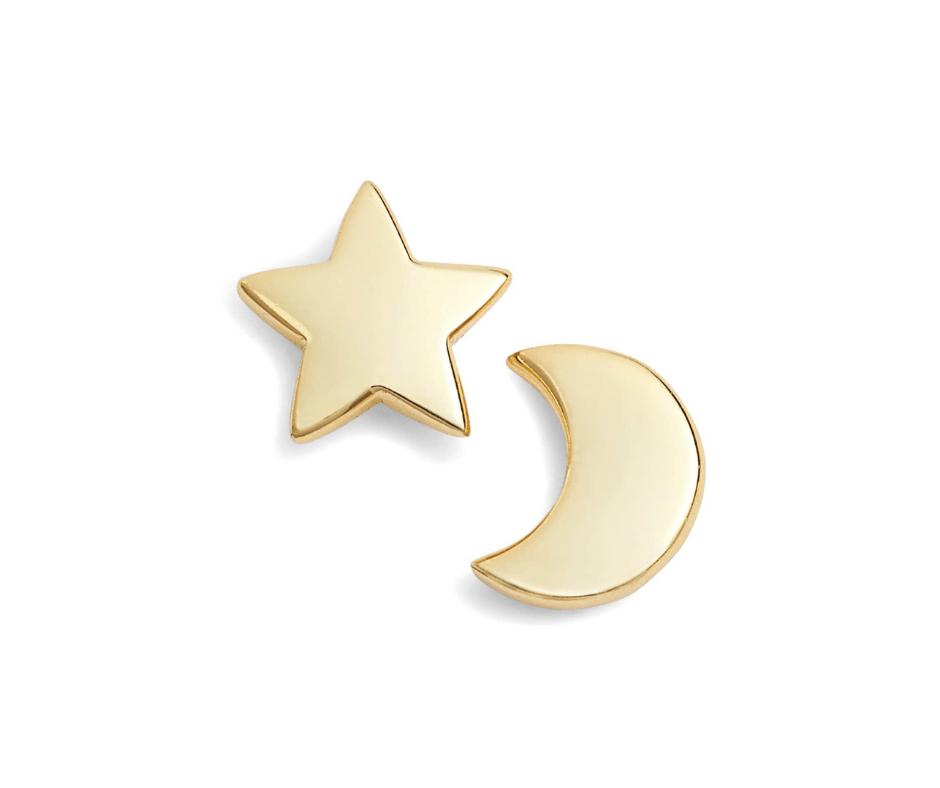 April Favorites - moon & star stud earrings