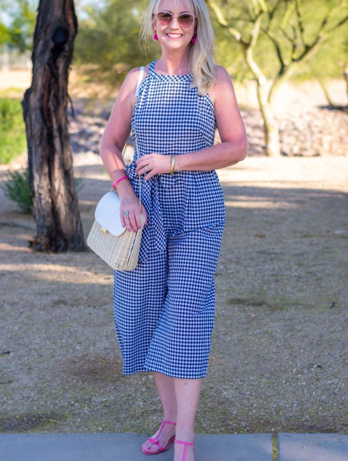 Halter Neck Gingham Jumpsuit