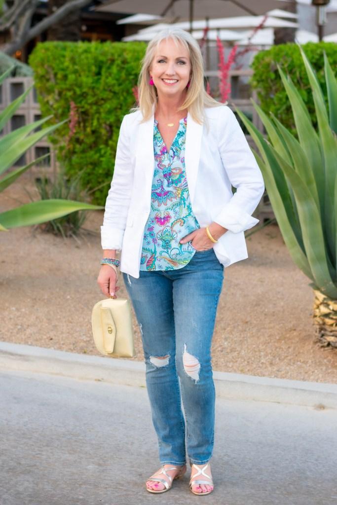 White Linen Blazer + Distressed Jeans